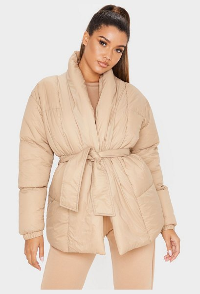 PrettyLittleThing collar tie waist puffer coat in stone