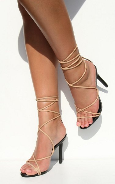 PrettyLittleThing contrast pu strappy stiletto heel in nude