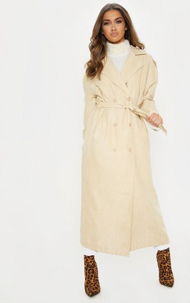 PrettyLittleThing cord belted trench in stone - We all need them timeless styles for the ultimate...