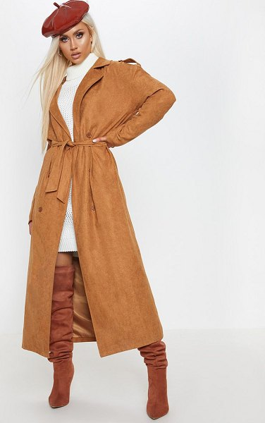 PrettyLittleThing cord belted trench in tan - Get that new you feel with this show stopping trench...
