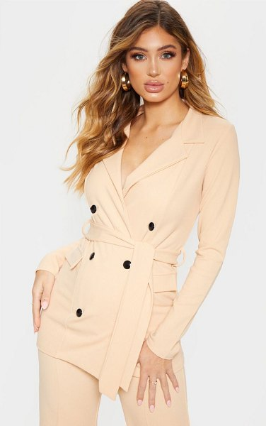 PrettyLittleThing crepe belted longline blazer in stone