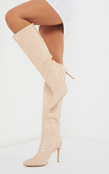 PrettyLittleThing croc calf boots in beige