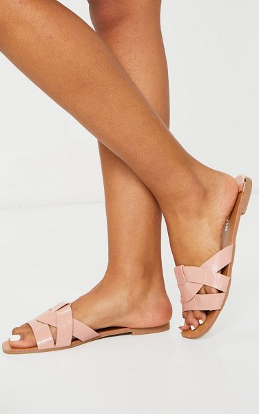 PrettyLittleThing croc pu strap over flat sandals in pink