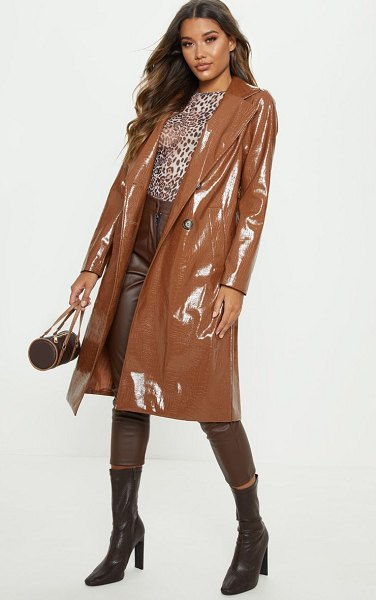 PrettyLittleThing croc pu trench in tan