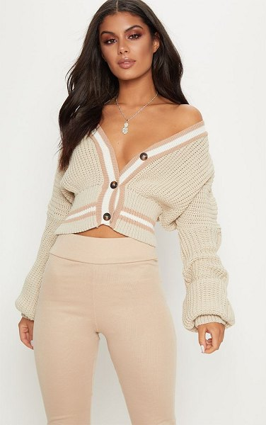 PrettyLittleThing crop extreme sleeve cardigan in stone