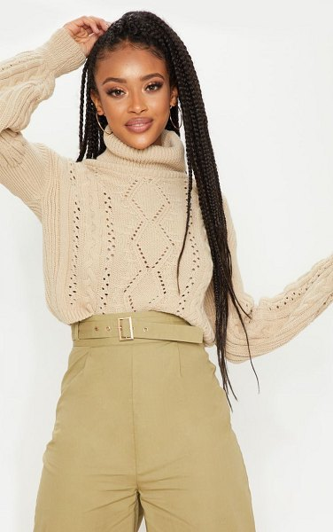 PrettyLittleThing cropped cable knitted sweater in stone