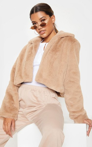 PrettyLittleThing cropped faux fur coat in stone