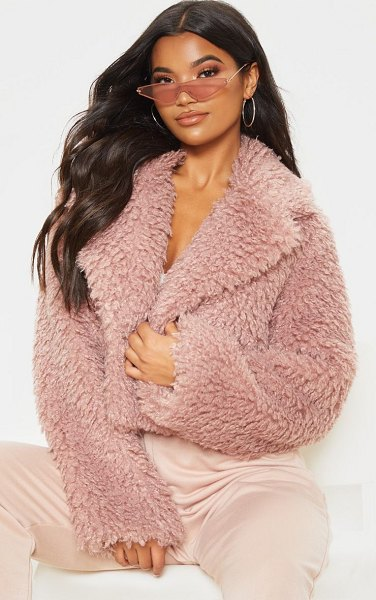 PrettyLittleThing cropped teddy faux fur coat in rose