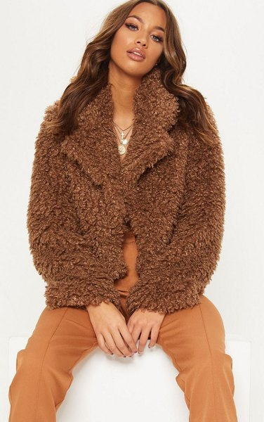 PrettyLittleThing cropped teddy faux fur coat in brown