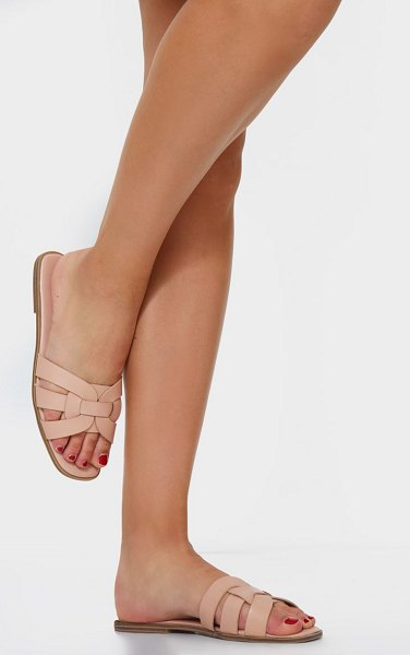 PrettyLittleThing cross over strap mule flat sandals in pink