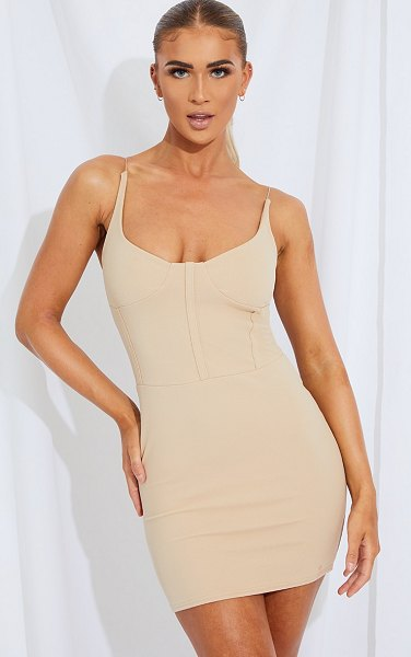 PrettyLittleThing cup detail strappy bodycon dress in stone