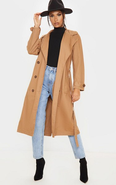 PrettyLittleThing dark denim trench coat in stone