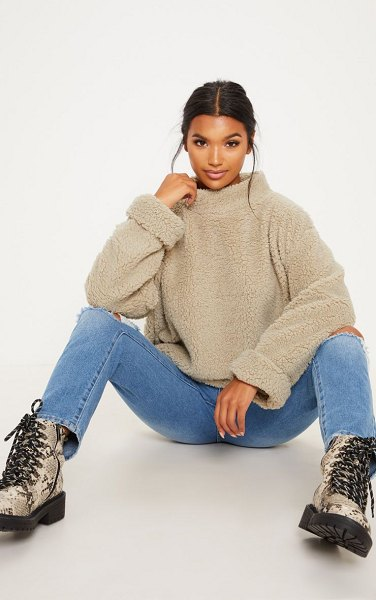 PrettyLittleThing deep stone high neck borg sweater in deep stone