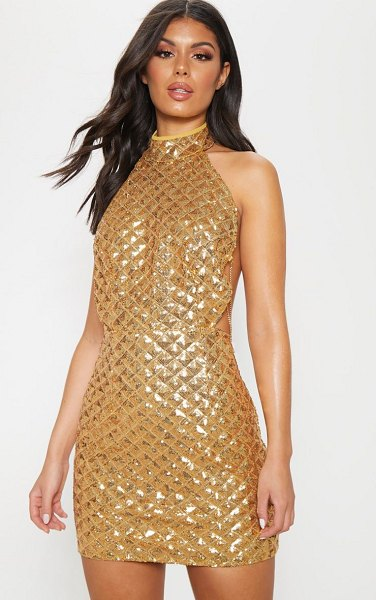 PrettyLittleThing diamond sequin chain back bodycon dress in gold - Make an entrance in this glitzy dress Featuring an all...