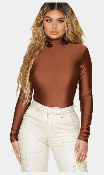 PrettyLittleThing disco high neck long sleeve bodysuit in chocolate