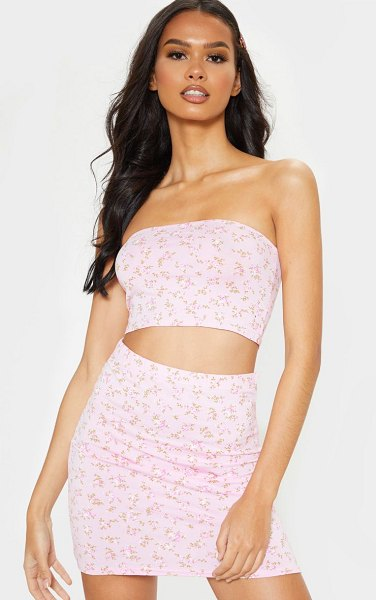 PrettyLittleThing ditsy floral print mini skirt in pink
