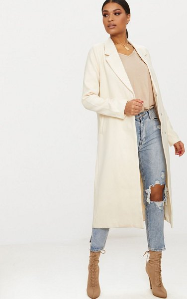 PrettyLittleThing double breasted longline coat in cream
