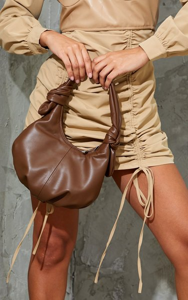 PrettyLittleThing double knot rounded shoulder bag in chocolate