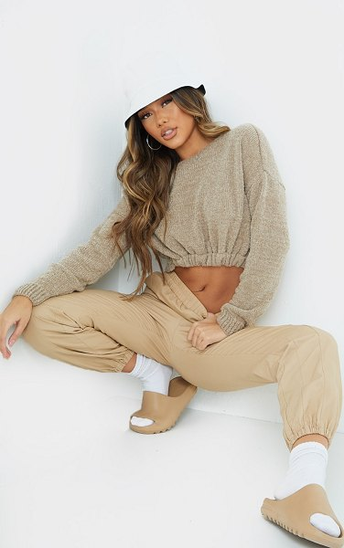 PrettyLittleThing drawstring knitted boucle crop sweater in camel