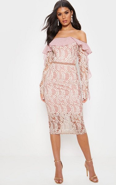 PrettyLittleThing dusty pink bardot lace frill sleeve midi dress in dusty pink