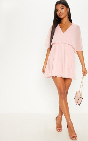 PrettyLittleThing dusty pink cape pleated detail skater dress in dusty pink