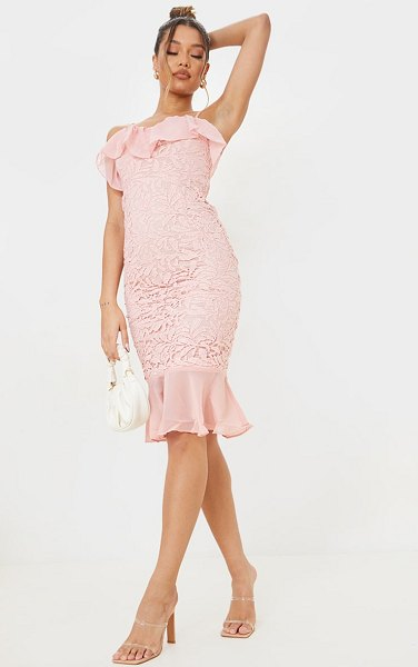 PrettyLittleThing dusty pink chiffon frill strappy lace midi dress in dusty pink