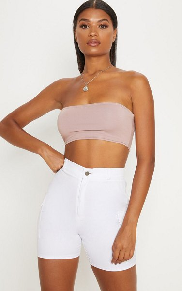 PrettyLittleThing dusty pink cotton stretch bandeau crop top in dusty pink -  Neutrals are essential this season and this crop top...