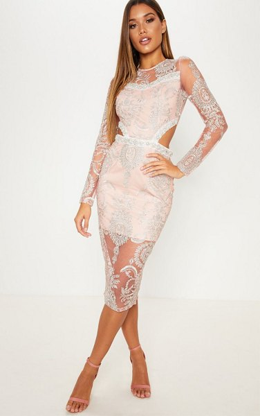 PrettyLittleThing dusty pink embroidered lace embellishment detail cut out midi dress in dusty pink -  nGet ready to WOW in this insane midi dress Featuring a...