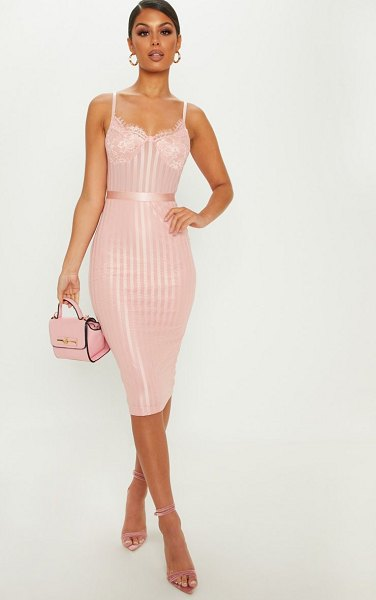 PrettyLittleThing dusty pink lace detail striped mesh midi dress in dusty pink - Take pretty in pink to new levels with this totally...