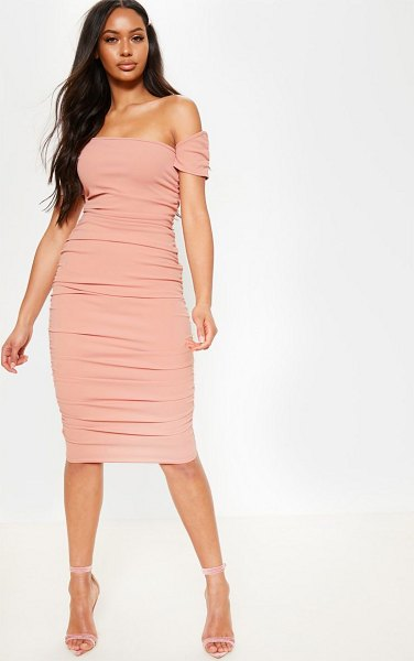 PrettyLittleThing dusty pink one shoulder ruched detail bodycon dress in dusty pink