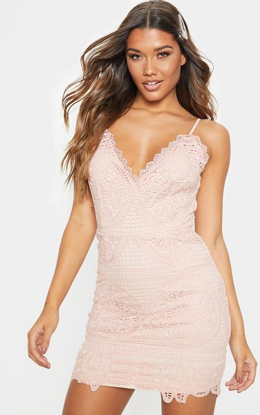 PrettyLittleThing dusty pink strappy plunge lace bodycon dress in dusty pink