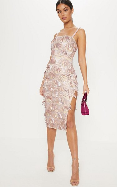 PrettyLittleThing dusty pink tassel sequin strappy midi dress in dusty pink - Serve looks like a queen in this evening essential midi...