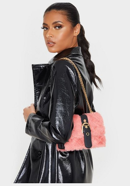 PrettyLittleThing dusty rose faux fur quilted buckle cross body bag in dusty rose.