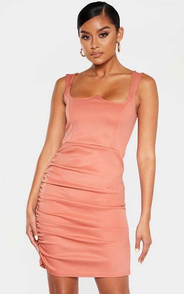 PrettyLittleThing dusty rose structured bodice ruched side bodycon dress in dusty rose
