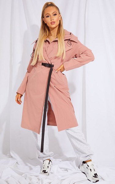 PrettyLittleThing elastic belted trench coat in pink