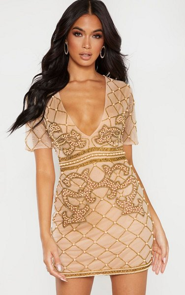 PrettyLittleThing embellished beaded plunge bodycon dress in nude
