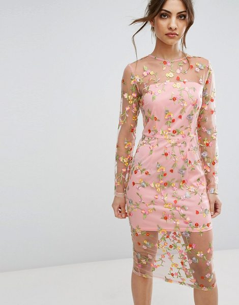 """PRETTYLITTLETHING Embroidered Sheer Midi Dress - """"""""Dress by PrettyLittleThing, Partially lined sheer..."""