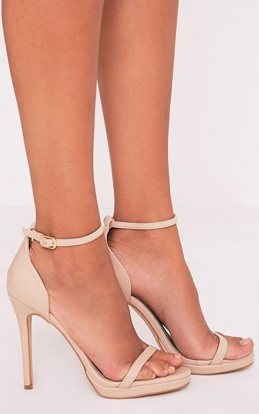PrettyLittleThing enna single strap heeled sandals in nude