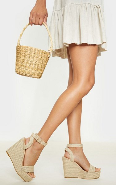 PrettyLittleThing espadrille wedge sandal in natural