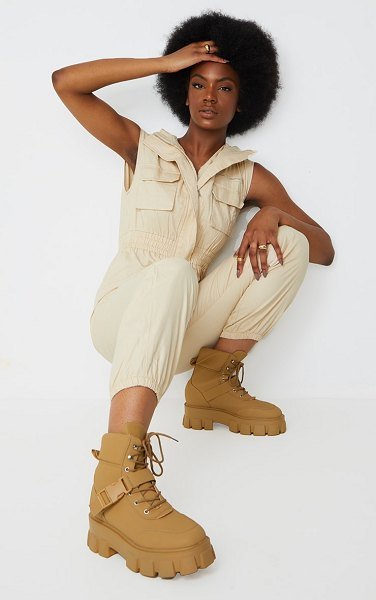 PrettyLittleThing extreme chunky sole buckle clasp hiker boots in sand