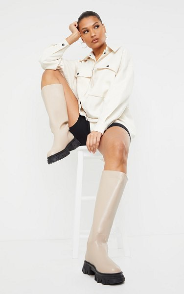 PrettyLittleThing extreme cleated sole calf high wellie boots in beige