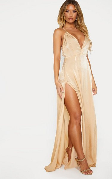 PrettyLittleThing extreme split strappy back maxi dress in nude