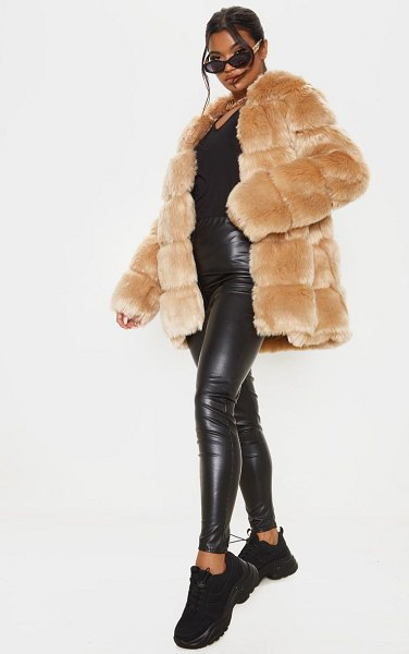 PrettyLittleThing faux fur bubble coat in stone
