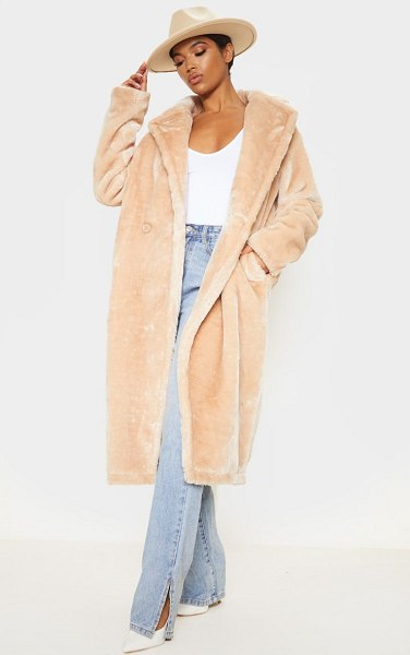 PrettyLittleThing large lapel midaxi faux fur coat in stone