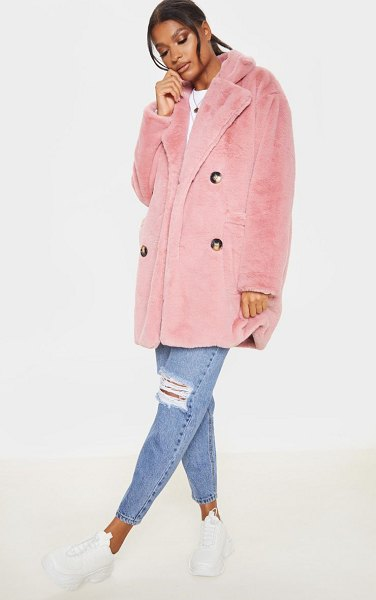 PrettyLittleThing faux fur double breasted button detail coat in rose