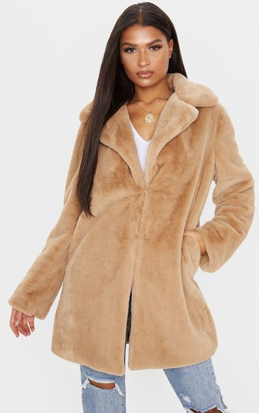 PrettyLittleThing faux fur midi collar coat in beige