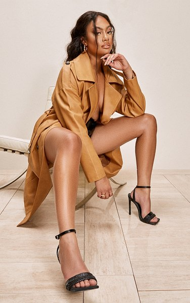 PrettyLittleThing faux leather drop arm midi trench in camel