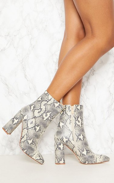 PrettyLittleThing faux snake ankle boot in beige - We are loving prints this season and these boots are...