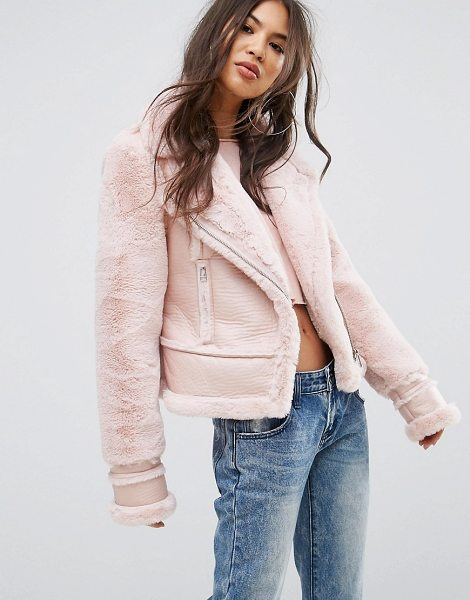 "PrettyLittleThing Faux Suede Aviator Jacket in pink - """"Jacket by PrettyLittleThing, Faux suede,..."