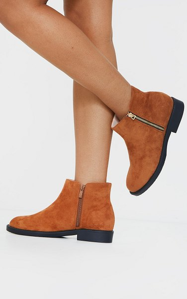 PrettyLittleThing faux suede basic ankle boots in tan